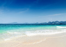 Clear water and blue sky. Beach in Krabi province, Stock Photo