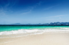 Clear water and blue sky. Beach in Krabi province, Royalty Free Stock Image