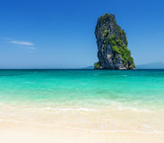 Clear water and blue sky. Phra Nang beach, Thailan Stock Photo