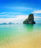 Clear water and blue sky. Phra Nang beach, Thailan Stock Image