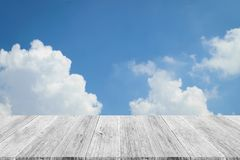 Blue sky cloud with Wood terrace Royalty Free Stock Images