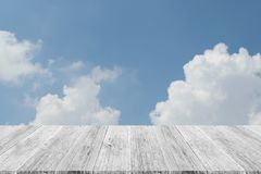 Blue sky cloud with Wood terrace. Nature cloudscape with blue sky and white cloud with Wood terrace Stock Image