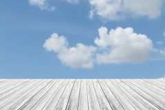 Blue sky cloud with Wood terrace. Nature cloudscape with blue sky and white cloud with Wood terrace Royalty Free Stock Photo