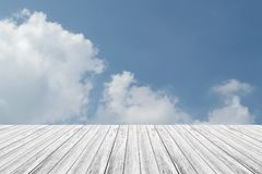 Blue sky cloud with Wood terrace. Nature cloudscape with blue sky and white cloud with Wood terrace Stock Images
