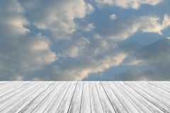 Blue sky cloud with Wood terrace. Nature cloudscape with blue sky and white cloud with Wood terrace Stock Photos