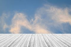 Blue sky cloud with Wood terrace. Nature cloudscape with blue sky and white cloud with Wood terrace Royalty Free Stock Images