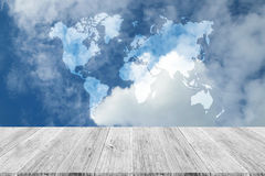 Blue sky cloud with Wood terrace, Map Stock Images