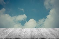 Blue sky cloud with Wood terrace , process in vintage style Stock Photography