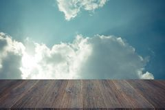 Blue sky cloud with Wood terrace , process in vintage style Royalty Free Stock Photos