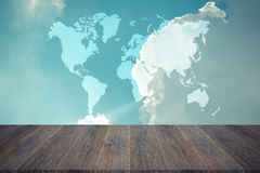Blue sky cloud with Wood terrace , process in vintage style, Map Stock Photography