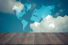 Blue sky cloud with Wood terrace , process in vintage style, Map Royalty Free Stock Images