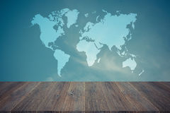 Blue sky cloud with Wood terrace , process in vintage style, Map Royalty Free Stock Photos