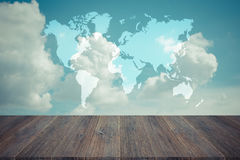 Blue sky cloud with Wood terrace , process in vintage style, Map Royalty Free Stock Photo