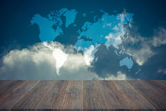 Blue sky cloud with Wood terrace , process in vintage style, Map Royalty Free Stock Photography