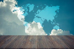 Blue sky cloud with Wood terrace , process in vintage style, Map Stock Photo