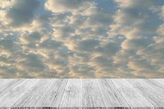 Red sky cloud with Wood terrace Stock Photography