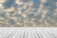 Red sky cloud with Wood terrace Stock Photo