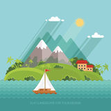 Nature - Color vector flat icon set and illustration summer time Stock Photos