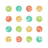 Nature colored icon set. Nature icon set - vector minimalist. Different symbols on the colored background Royalty Free Stock Photo