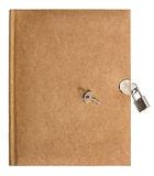 Nature colored retro diary book with lock and key Stock Photo