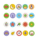 Nature Colored Vector Icons 4 Stock Photos