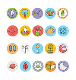 Nature Colored Vector Icons 2 Stock Photography