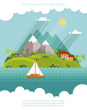 Nature - colorez l'heure plate d'ensemble d'icône de vecteur et d'été d'illustration Photographie stock libre de droits