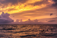 Nature composition of sunset at sea after the storm royalty free stock photos