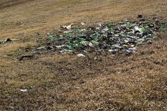 Nature contaminated by glass metal plastic waste -  Pollution  Stock Photos