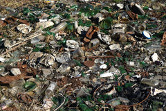 Nature contaminated by glass metal plastic waste -  Pollution  Stock Image