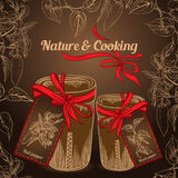 Nature and cooking herb spice jars with red ribbon Royalty Free Stock Images