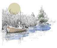 Nature corner. Boat on lake, river sketch, peaceful place Royalty Free Stock Images