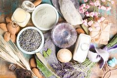 Nature cosmetics, handmade preparation with essential oils and a. Ncient minerals of parfums, skincare, creams, soaps from fresh and dried lavender flowers royalty free stock photos