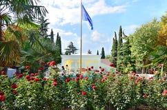 Nature of Crimeag.Alushta.Ukraina. Nature of Crimea. The flag on the mast. Hotel Porto - Mare g.Alushta.Ukraina Royalty Free Stock Photo