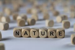 Nature - cube with letters, sign with wooden cubes. Nature - wooden cubes with the inscription `cube with letters, sign with wooden cubes`. This image belongs to stock images