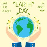 Earth day, 22 April, Save our planet. Nature day, time for save our planet, take care of nature Stock Images