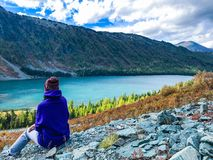 Nature des montagnes d'Altai lac Multinskoe Russie Septembre 2018 photo stock