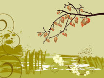 Nature design. Illustration of colorful leaves hanging on a bough stock illustration