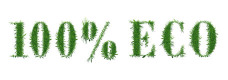 Nature design. 100 ECO. Ecology nature design. The text 100 ECO is made of grass. Environmental concepts for healthy lifestyle, natural foods. Suitable for ads stock illustration