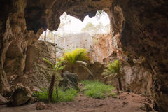 Nature direct sunlight in historical cave during Royalty Free Stock Photos