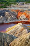 Nature disaster, lifeless land with polluted water royalty free stock photos
