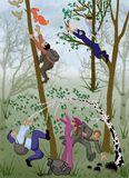 Nature, drawing, cartoon, nature protection, forest pests, leaves, forest, trees, green, cartoon, camping, people, bullies, spring Stock Images
