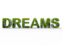 Nature dreams concept. 3D rendered illustration for the concept of dreaming about nature and outdoors. The composition is isolated on a white background with Stock Photo