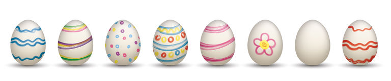 8 Nature Easter Eggs Header. 8colored easter eggs on the white Stock Photography