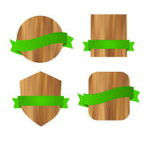 Nature eco green wooden labels. With ribbons Royalty Free Stock Image