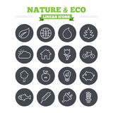 Nature and Eco linear icons set. Thin outline Royalty Free Stock Photo