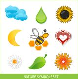 Nature eco symbols set green color Royalty Free Stock Images