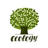 Nature, ecology, forest logo or label. Abstract green tree with leaves. Decorative vector illustration Royalty Free Stock Photos