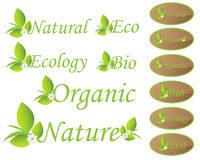 Nature and ecology labels stock illustration