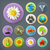 Nature and Ecology, long shadow icons Stock Photos